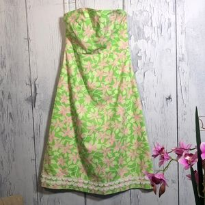 Lilly Pulitzer Strapless Floral Green/Pink Dress 4
